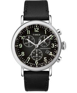 Montre chronomètre Standard 41mm bracelet en cuir Argenté/Noir large