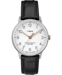 Waterbury 36mm Classic Leather Strap Watch Stainless-Steel/Black/White large