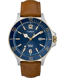 Montre Harborside 42 mm Bracelet en cuir Chrome/Brun clair/Bleu large