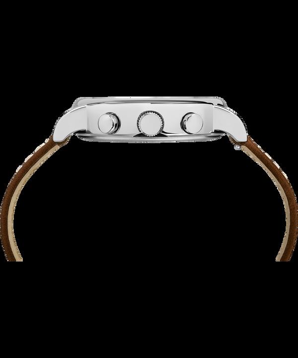 Montre chronomètre Weekender 40mm Bracelet deux pièces en cuir Silver-Tone/Brown/Blue large