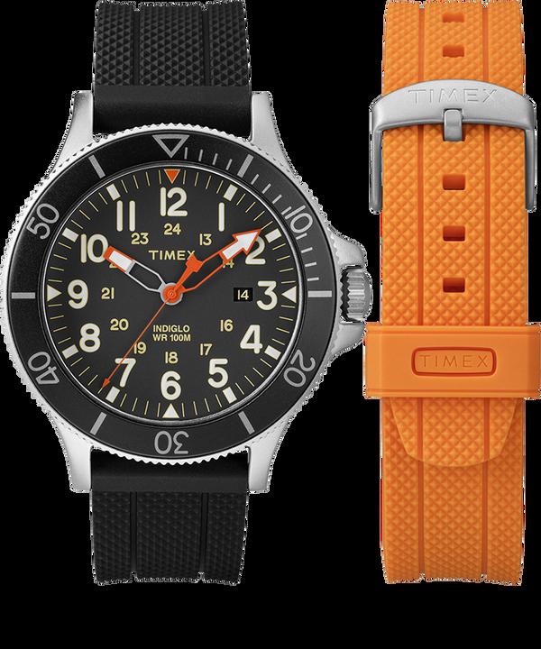 Coffret cadeau montre Allied Coastline 43mm avec bracelet supplémentaire Silver-Tone/Black large