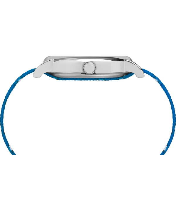 TimexxPeanuts - Montre Lucy 38mm Bracelet en tissu Silver-Tone/Blue/White large