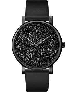 Montre Crystal Opulence 38mm avec cadran Swarovski Bracelet en cuir Doré/Noir large