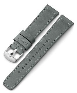 Bracelet en cuir noir à dégagement rapide 20mm Gris large
