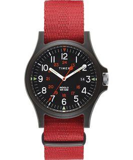 Montre Acadia 40mm Bracelet en tissu Noir/Rouge large