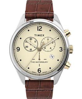 Montre chronomètre Waterbury Traditional 42mm Bracelet en cuir croco Acier inoxydable/Marron/Crème large