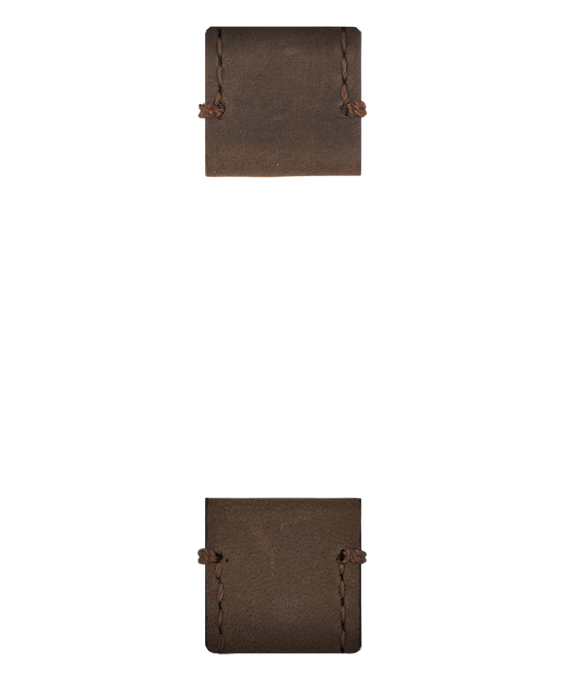Bracelet en deux parties en cuir marron  large