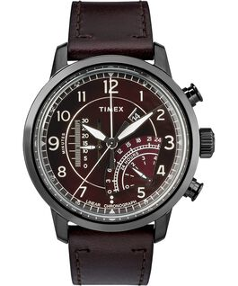Waterbury Linear Chronograph 45mm Leather Watch Gray/Red large