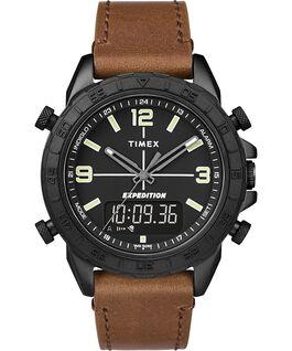 Montre Expedition Pioneer Combo avec bracelet en cuir à dégagement rapide 41mm Noir/Marron large