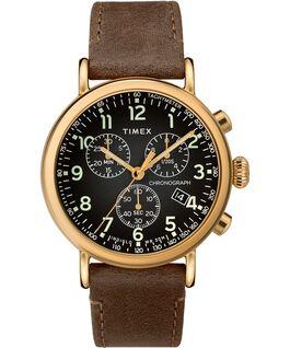 Montre chronomètre Standard 41mm bracelet en cuir Doré/Marron/Gris large