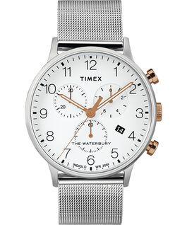 Montre chronomètre Waterbury Classic 40mm bracelet à milanaise Acier inoxydable/Blanc large