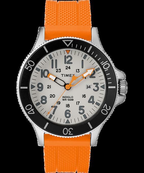 Allied Coastline 43mm Silicone Strap Watch Silver-Tone/Orange/Gray/Black large