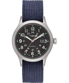 Montre Allied 40mm avec bracelet en tissu et marqueurs en points Argenté/Bleu/Vert large