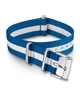 Bracelet une pièce à double couche en tissu à rayures 18mm Bleu large