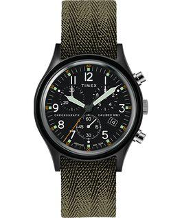 Montre MK1 Chronograph 40mm avec bracelet tissu et marqueurs de cadran à points Noir/Vert large