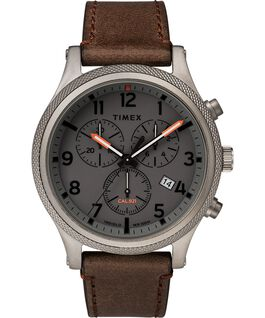 Montre chronomètre Allied LT 42 mm avec bracelet en cuir Gris/Marron large