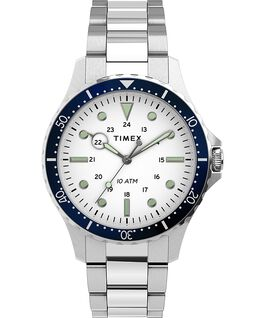 Montre Navi XL 41mm Bracelet en acier inoxydable Acier inoxydable/Blanc large
