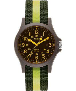 Montre Acadia 40mm avec lentille colorée et bracelet en tissu à rayures Vert/Noir large
