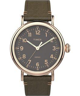 Montre Standard 41mm Bracelet en cuir Rose doré/Vert/Gris large