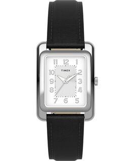 Montre Addison 25mm Bracelet en cuir Argenté/Noir large