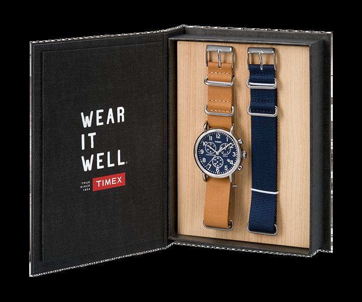 Coffret cadeau montre chronomètre Weekender 40mm avec bracelet en cuir Silver-Tone/Tan/Blue large