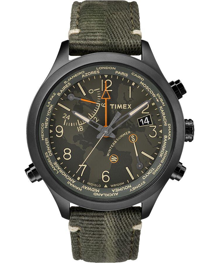 e8f92affa085 Reloj Waterbury World Time de 43 nbsp mm con correa de tela Stainless-Steel