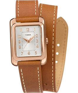 Montre Addison 25 mm Bracelet double tour en cuir Or rose/Brun/Argenté large