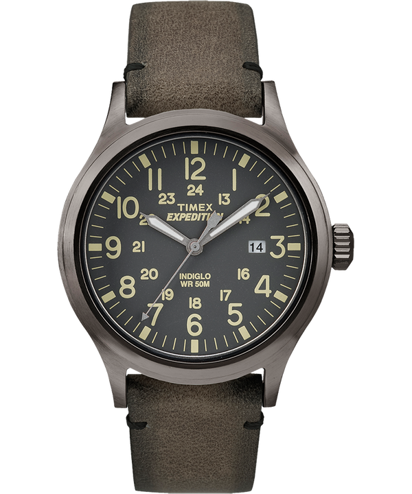 Montre Expedition Scout 40 mm Bracelet en cuir Gray/Brown large
