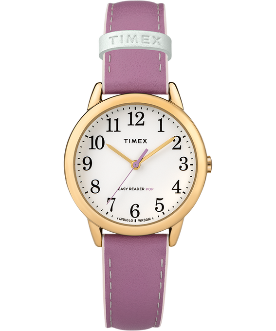 Easy-Reader-30mm-Exclusive-Color-Pop-Leather-Womens-Watch Doré/Violet/Blanc large