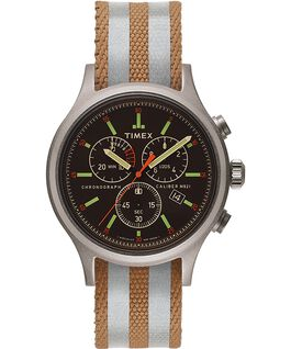Montre Allied 40mm avec bracelet en tissu à rayures réversible et réfléchissant Argenté/Noir large