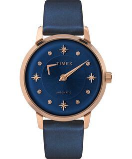 Montre automatique Celestial Opulence 38mm Bracelet texturé Rose doré/Bleu large
