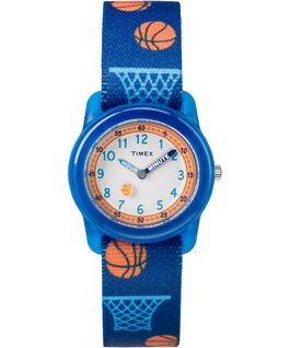 Kids Analog 34mm Fabric Strap Watch Blue/White large