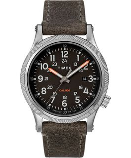 Montre Allied LT 40mm avec bracelet en cuir Argenté/gris/noir large
