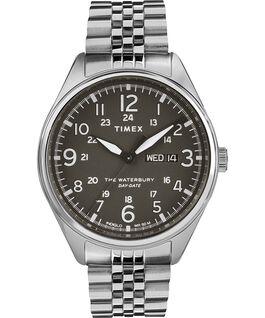 Montre bracelet Waterbury Traditional avec date du jour 42mm Acier inoxydable Acier inoxydable/Noir large