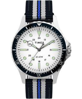 Montre Navi XL 41mm Bracelet en tissu une pièce Acier inoxydable/Bleu/Blanc large