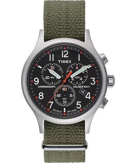 Montre chronomètre Allied 42mm avec bracelet en tissu Argenté/Vert/Noir large