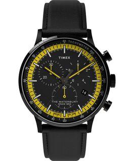 Montre chronomètre Waterbury Classic 40mm Bracelet en cuir avec cadre Noir large