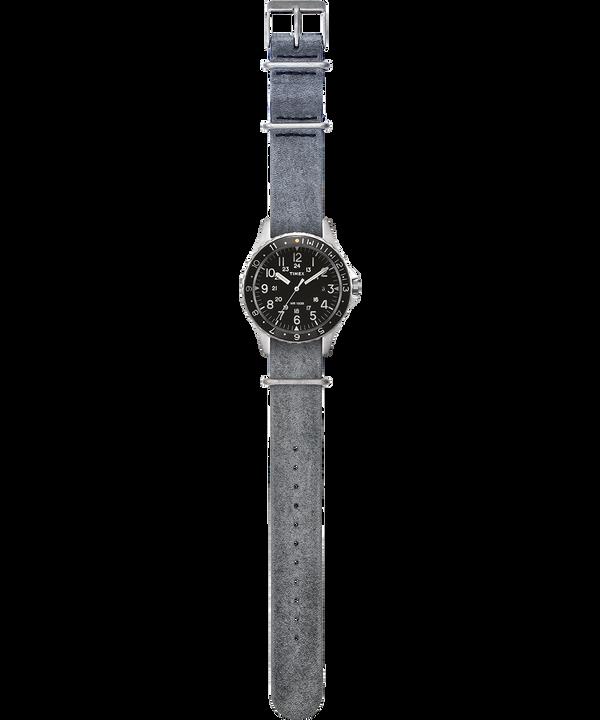 Montre Navi Ocean 38mm Bracelet en cuir délavé à la pierre Acier inoxydable/Gris/Noir large