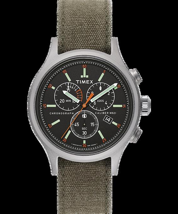 Montre chronomètre Allied 42mm Bracelet en tissu délavé à la pierre Argenté/Vert/Noir large