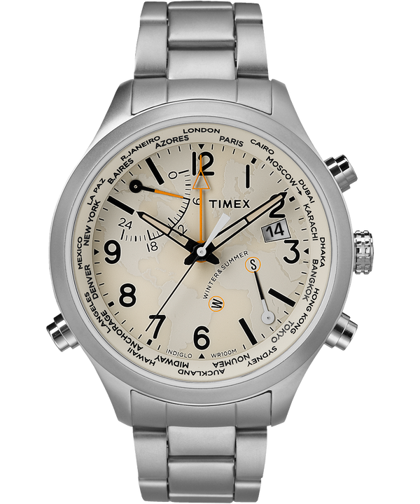 Waterbury World Time 43mm Stainless Steel Watch  large
