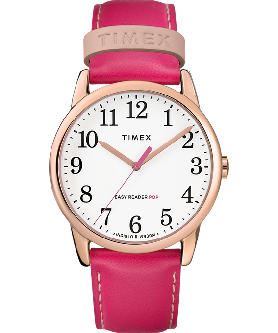 Easy-Reader-38mm-Exclusive-Color-Pop-Leather-Womens-Watch Or rose/Rose/Blanc large