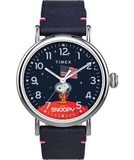 Montre standard TimexxSpace Snoopy 40mm Bracelet en cuir Argenté/Bleu large
