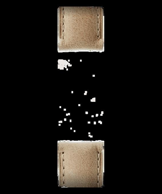 Bracelet en deux parties en cuir brun clair  large