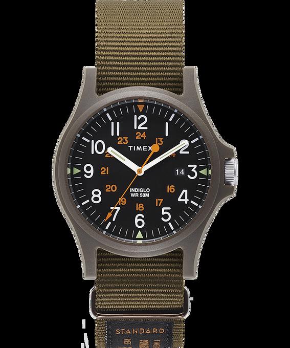 Acadia 40mm Military Grosgrain Strap Watch Green/Black large