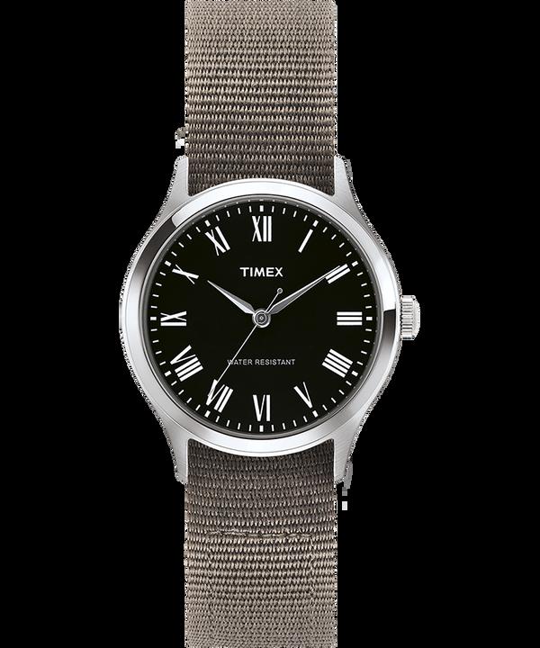 Montre Whitney Avenue 36mm Bracelet en gros-grain réversible Acier inoxydable/Noir large