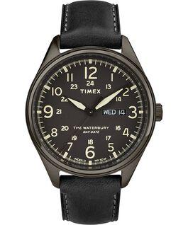 Montre Waterbury Traditional avec date du jour 42mm Bracelet en cuir Noir large