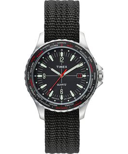 Navi World Time 38mm Fabric Strap Watch Stainless-Steel/Black large