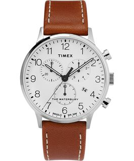 Waterbury Classic Chronograph 40mm Leather Strap Watch Stainless-Steel/Tan/White large