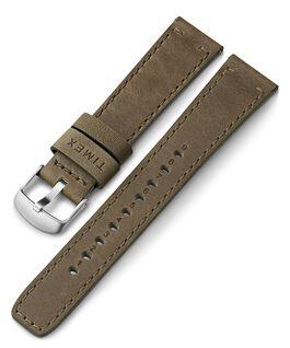 Bracelet en cuir noir à dégagement rapide 20mm Vert large