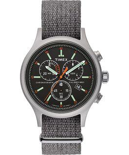 Montre chronomètre Allied 42mm avec bracelet en tissu Argenté/gris/noir large